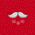 White Hand Drawn Santa Claus Moustache. Red Snowy Christmas Vector Card.