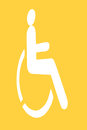White handicap sign on yellow background Royalty Free Stock Photo