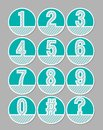 White hatched number set on a green background. Artistic number in circle shapes. Infographic element, useful in presentation temp Royalty Free Stock Photo
