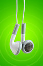 White headphones with clipping path music can be used in studies related photo Royalty Free Stock Image