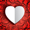 White heart with shadow on seamless background wit roses vector illustration Stock Images