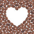 Heart shaped coffee beans on white background