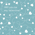 White hearts on swirly stems on a light blue background. Will yo