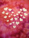 White heats paper cutting hearts cut from on pink background Royalty Free Stock Photography