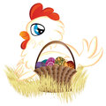 White hen with easter eggs basket cute cartoon of Royalty Free Stock Photography
