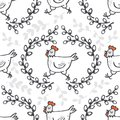 White hen in willow wreath spring Easter seamless pattern