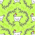 White hen in willow wreath spring holiday Easter pattern on green