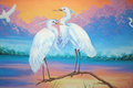 White herons painting of two in sunset swamp Stock Photography