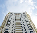 White high building hotel tower residential and sky Royalty Free Stock Photo