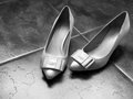 White high heel women shoes on the floor black and Stock Images