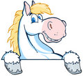 White horse mascot cartoon head Stock Photos