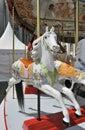 White horse on old fairground carousel Royalty Free Stock Photos