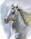 White horse wonderland nature watercolor Royalty Free Stock Images