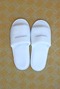 White Hotel Slippers Stock Photo