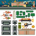 White House at night flat game level kit Royalty Free Stock Photo