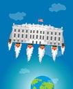 White housein space. USA President Residence rocket turbo. Ame