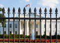 White house washington dc behind bars main entrance of seen through railings at pennsylvania avenue Royalty Free Stock Photo