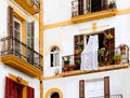 White houses in Ibiza town from Balearics Stock Image