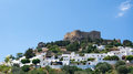 White houses of Lindos at Rhodes Island Royalty Free Stock Photo