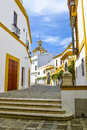 White houses of seville streets around plaza del toros with in spain Stock Images