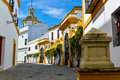 White houses of seville streets around plaza del toros with in spain Royalty Free Stock Photos