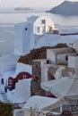 White houses in town of Oia, Santorini island, Thira, Greece Royalty Free Stock Photo