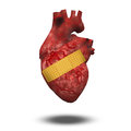 On white human heart with bandage Royalty Free Stock Photo