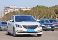 White Hyundai Sonata sedan on the road, Yiwu, China Royalty Free Stock Photo