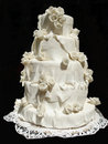 White iced wedding cake Royalty Free Stock Photos