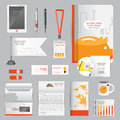 White identity template with Orange Pig Business charts the work of saving and Pens mugs CDs books business cards letterhead flag Royalty Free Stock Photo