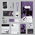 White identity template with origami elements. Vector company style for brandbook guideline and Pens mugs CDs books business cards Royalty Free Stock Photo