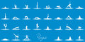 White illustrated set of people in different yoga positions on blue background Royalty Free Stock Photos