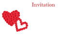 White invitation card design with red cutout gerbera flower hear hearts and copy space Stock Image