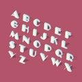 White isometric font alphabet Royalty Free Stock Photo