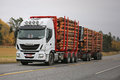 White Iveco Stralis 560 Logging Truck Transport Royalty Free Stock Photo
