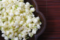 White jasmine a in wooden tray for decoration Royalty Free Stock Photos