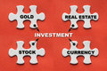 White jigsaw puzzle with investment concept or investment plan Royalty Free Stock Photo