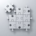 White jigsaw puzzle the last piece stand out from the crowd different concept on white wall background with shadow Royalty Free Stock Photo