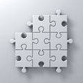 White jigsaw puzzle pieces one missing concept on white wall background with shadow 3D render Royalty Free Stock Photo