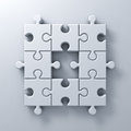 White jigsaw puzzle pieces one missing concept on white wall background with shadow