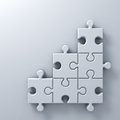 White jigsaw puzzle pieces on white wall background with blank space 3D render Royalty Free Stock Photo