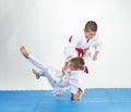 In white judogi athletes train judo throws Royalty Free Stock Photo