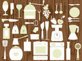 White kitchen utensils on the wooden background vector illustration of various and some food Royalty Free Stock Photography