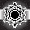 White lace background lacy frame on black Royalty Free Stock Photo