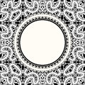 White lace background realistic round frame on black Stock Photos