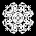 White lace doily realistic on black Royalty Free Stock Images