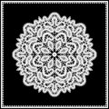 White lace doily realistic in lacy frame isolated on black Royalty Free Stock Photo