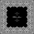 White lace frame on black background Royalty Free Stock Photo