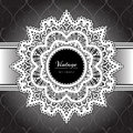 White lace frame round on black background Royalty Free Stock Photos
