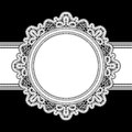 White lace frame round on black realistic lacework ornament Royalty Free Stock Photos
